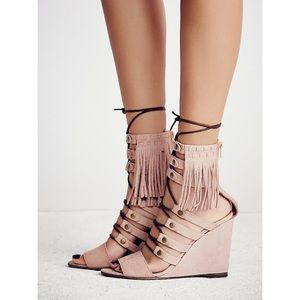 Free People• Solstice Leather Fringe Wedge Sandals